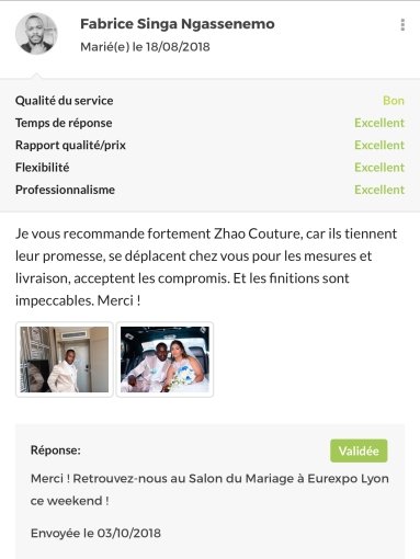Les avis ZHAO couture (1)