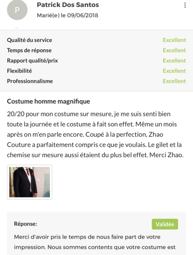 Les avis ZHAO couture (2)